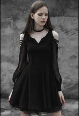 Cold Shoulder Lace Up Sleeve Dress
