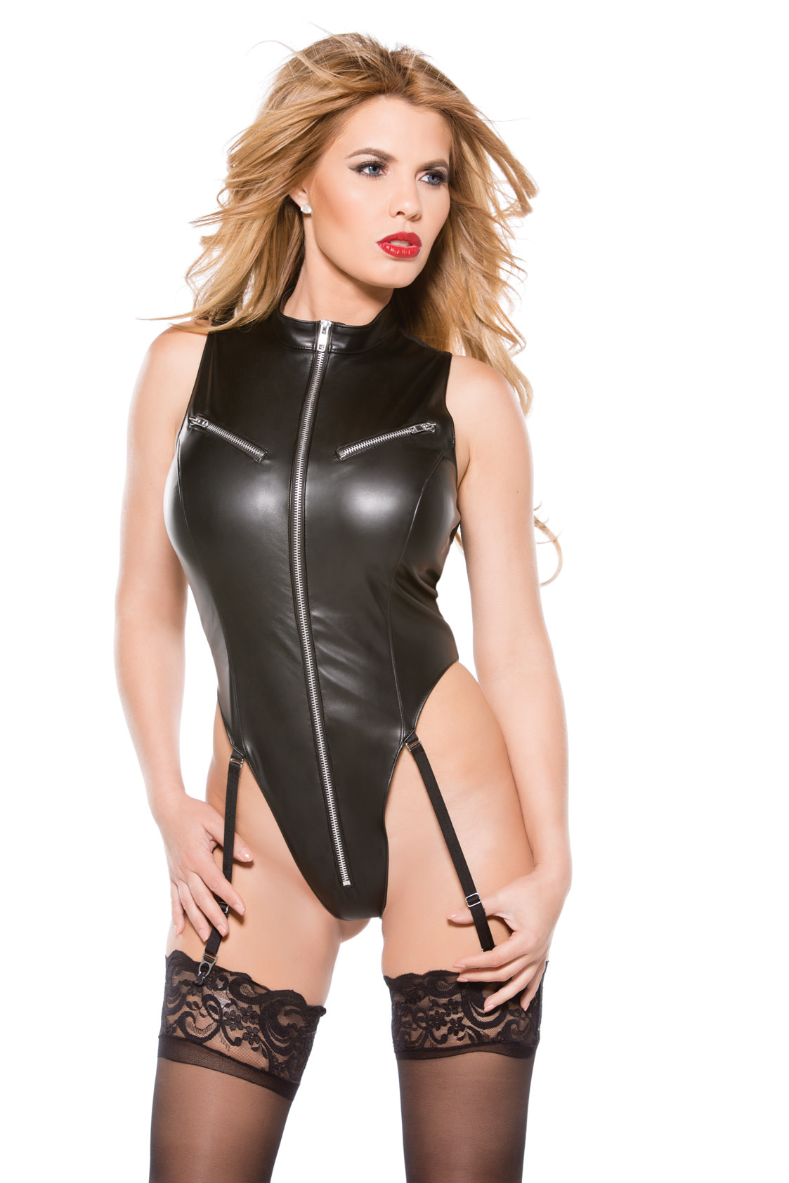 Leatherette Thong Back Teddy