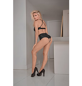 Liquid Onyx Bra and Crotchless Panty Set