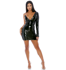 Power Shoulder Vinyl Dress