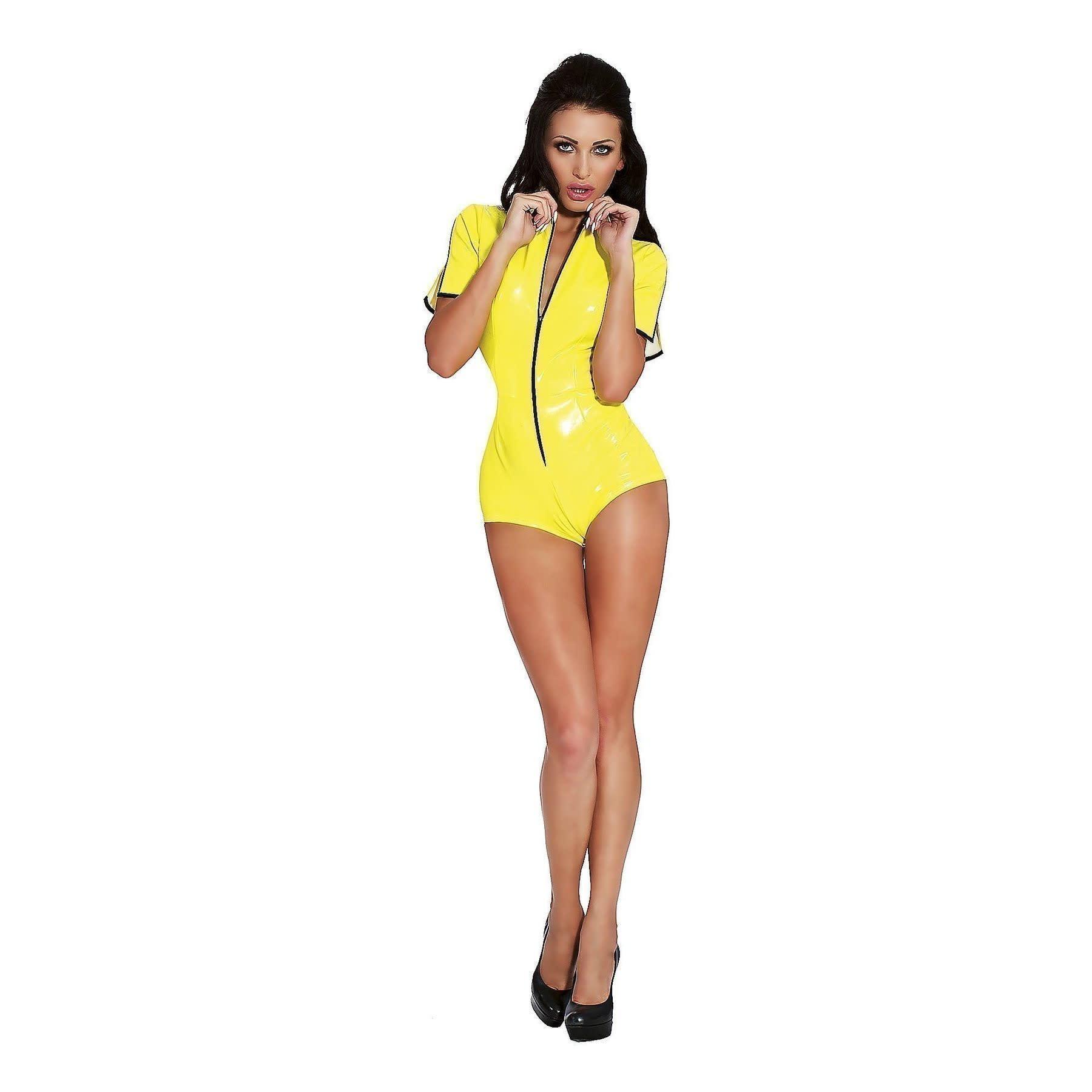 Datex Short Sleeve Zip Front Bodysuit