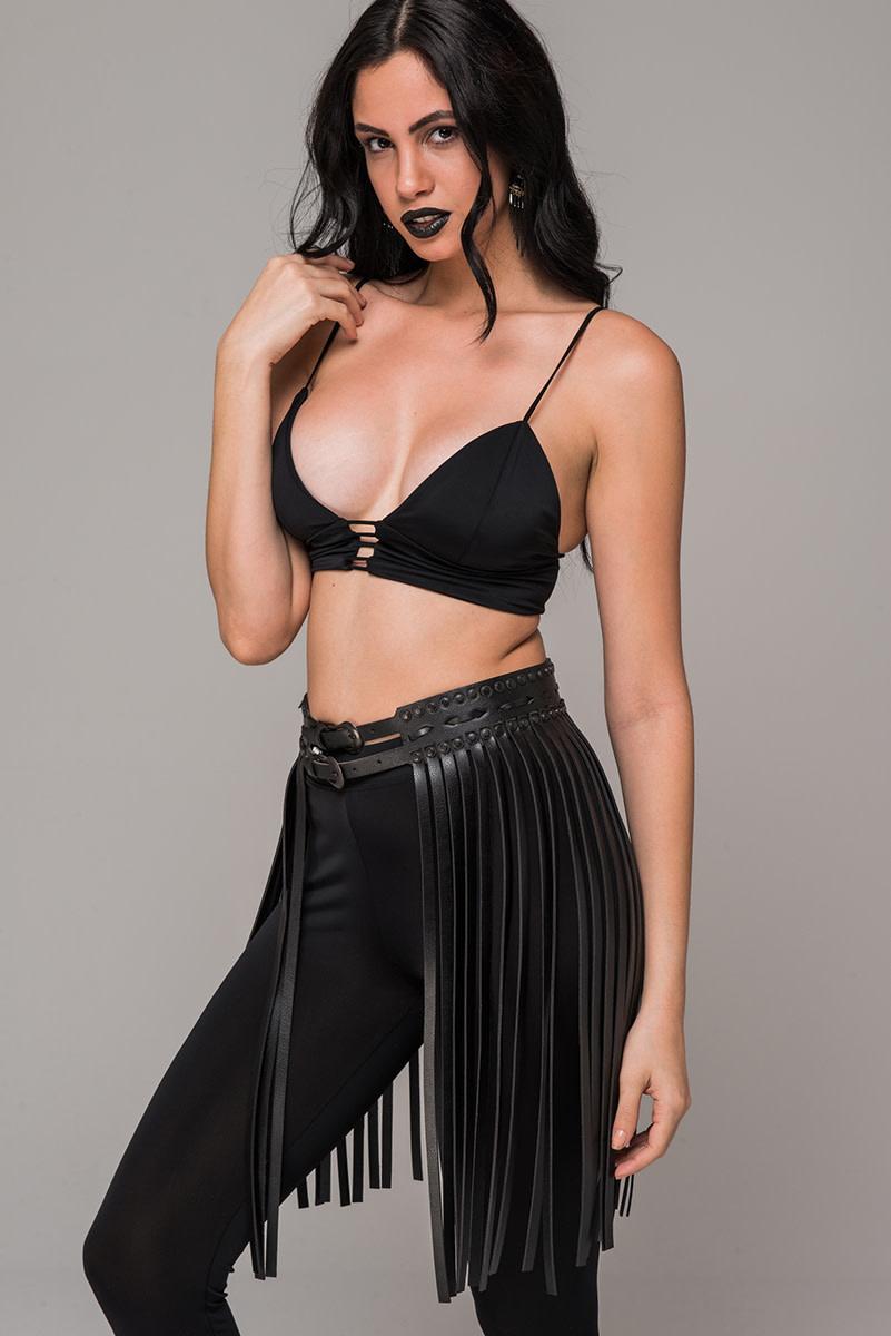 Faux Leather Belted Fringe Skirt
