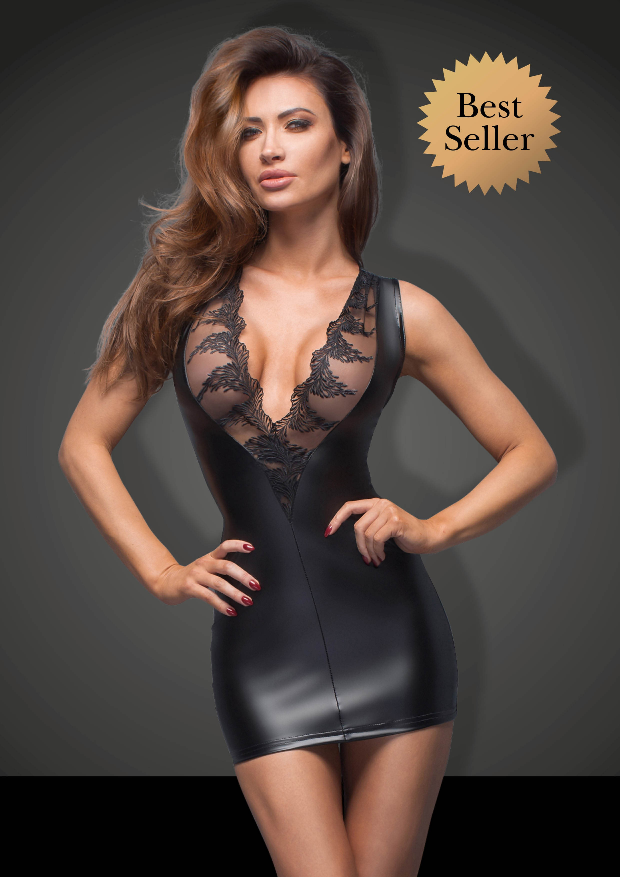 Power Wetlook Mini Dress with Lace