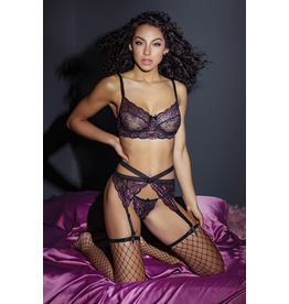 Black Lilac Lace Set