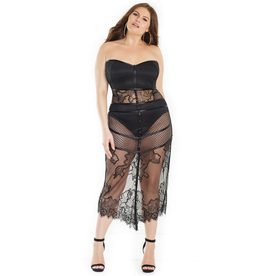 Net and Lace Dress with Panty