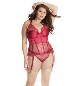 Merlot Lace and Satin Bustier Set