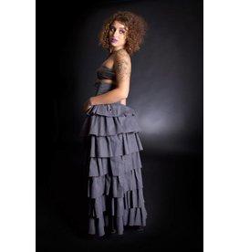 Custom Pinstripe Mad Max Cinch Bustle Full Length Skirt XS