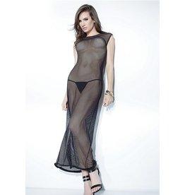 Fishnet Gown W/Faux Metal Zip