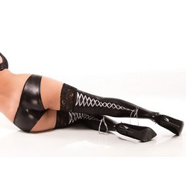 Wetlook Thigh-Hi W/Lace-Up Ribbons