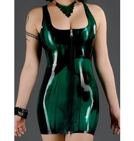 Marbled Latex Front Zip Cocktail Dress