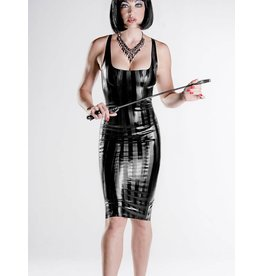 DP Striped Latex Long Cocktail Dress