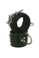 Kookie Black Patent Fleece Lined D-Ring Cuffs