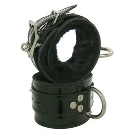 Kookie Black Patent Fleece Lined D-Ring Cuffs
