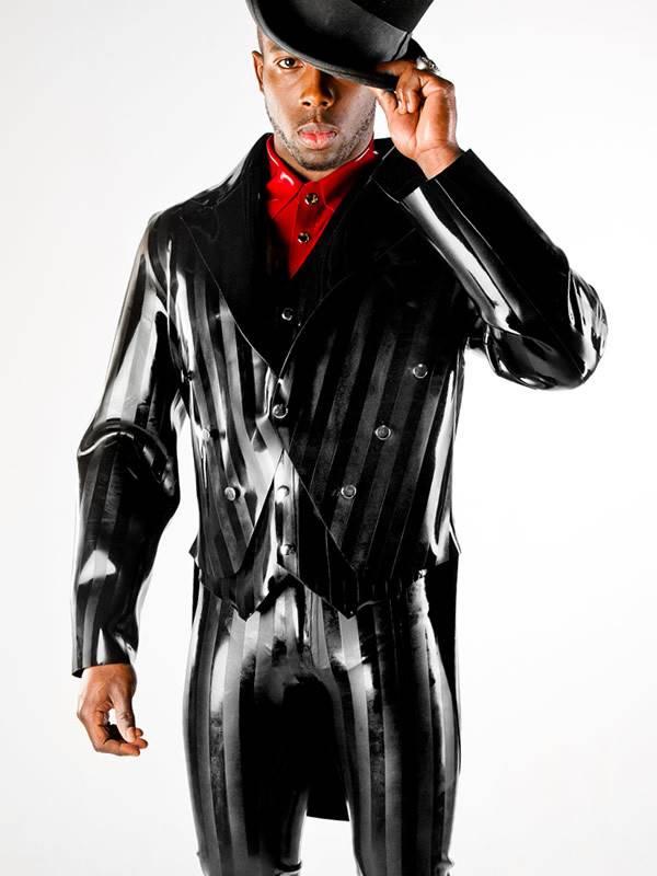 Polymorphe Striped Latex Tuxedo Jacket