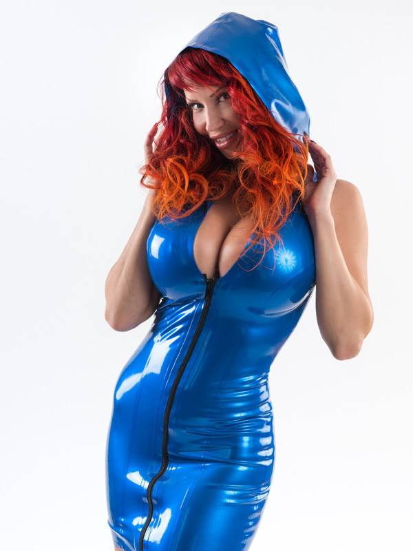 DP Marbled Latex Hoodie Dress