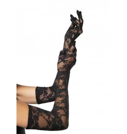 Stretch Lace Elbow Length Gloves O/S BLACK