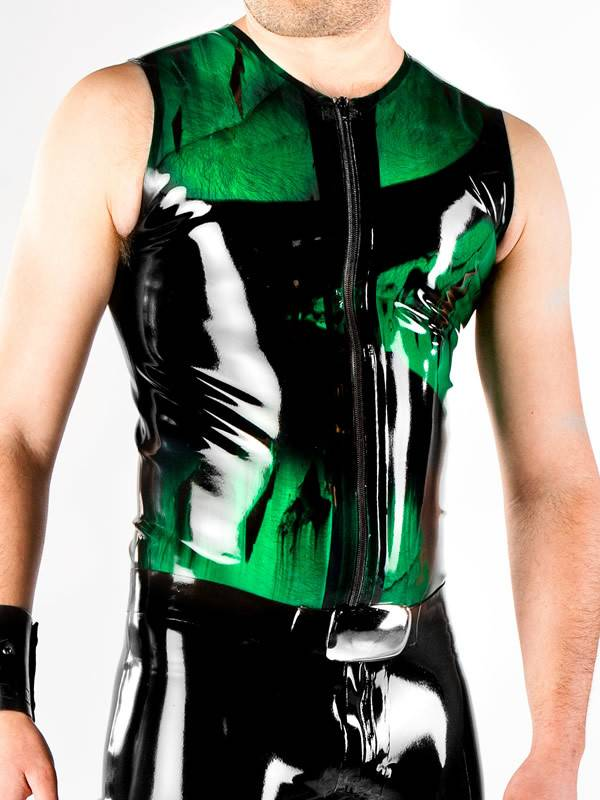 DP Marbled Latex Sleeveless Zip Shirt
