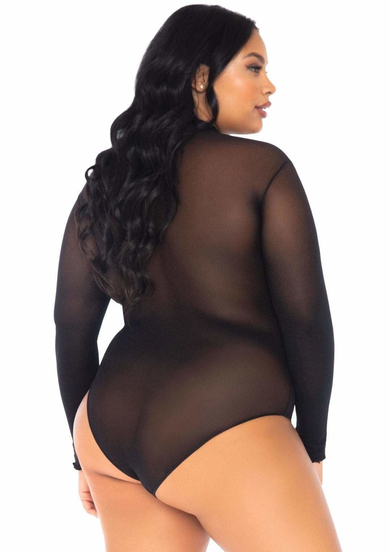 Opaque High Neck Long Sleeve Bodysuit