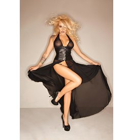 Wetlook Cincher Sheer Panel Dress