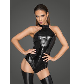 Wetlook and Leatherette Halter Bodysuit