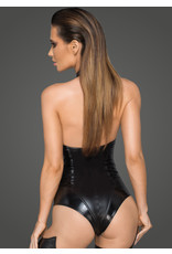 Wetlook and Leatherette Halter Bodysuit