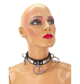 Leather Triple Ring Metal Band Bondage Collar