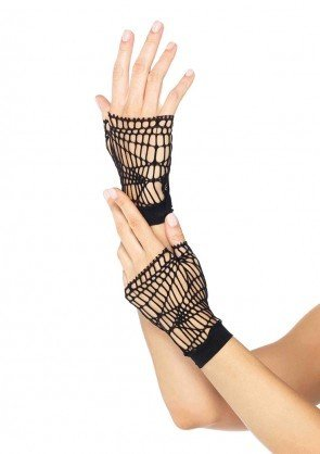 Distressed Net Fingerless Gloves O/S BLACK