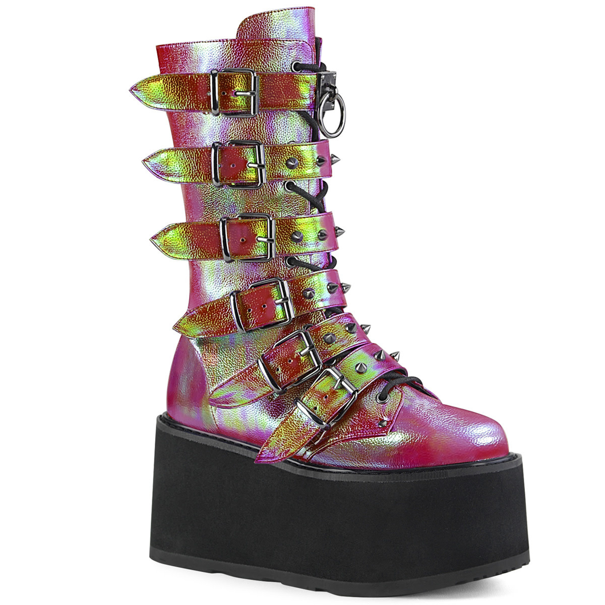 """3.5"""" Mid Calf Boot with 6 Buckle Straps"""
