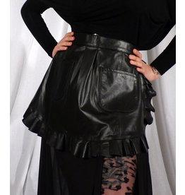 PASSIONAL Leather Ruffle Half Apron