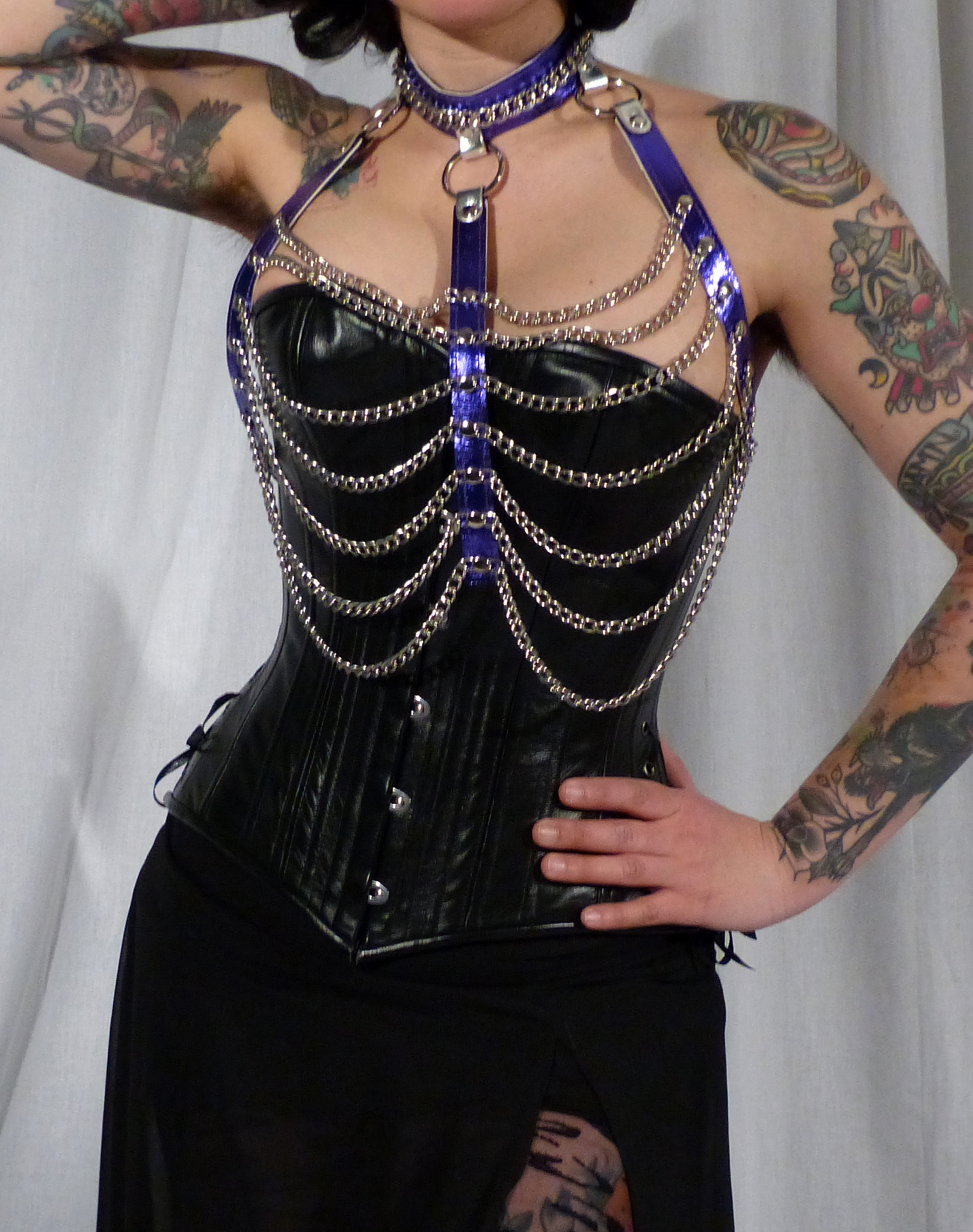 Leather and Chain Open Halter Harness