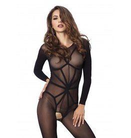 2pc Opaque LS Bodystocking w/ Teddy Harness