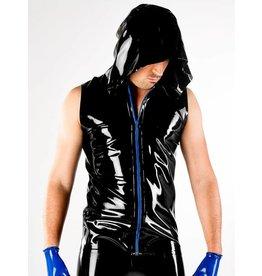 DP Latex Hooded Vest W/Zip Bk/Rd SMALL