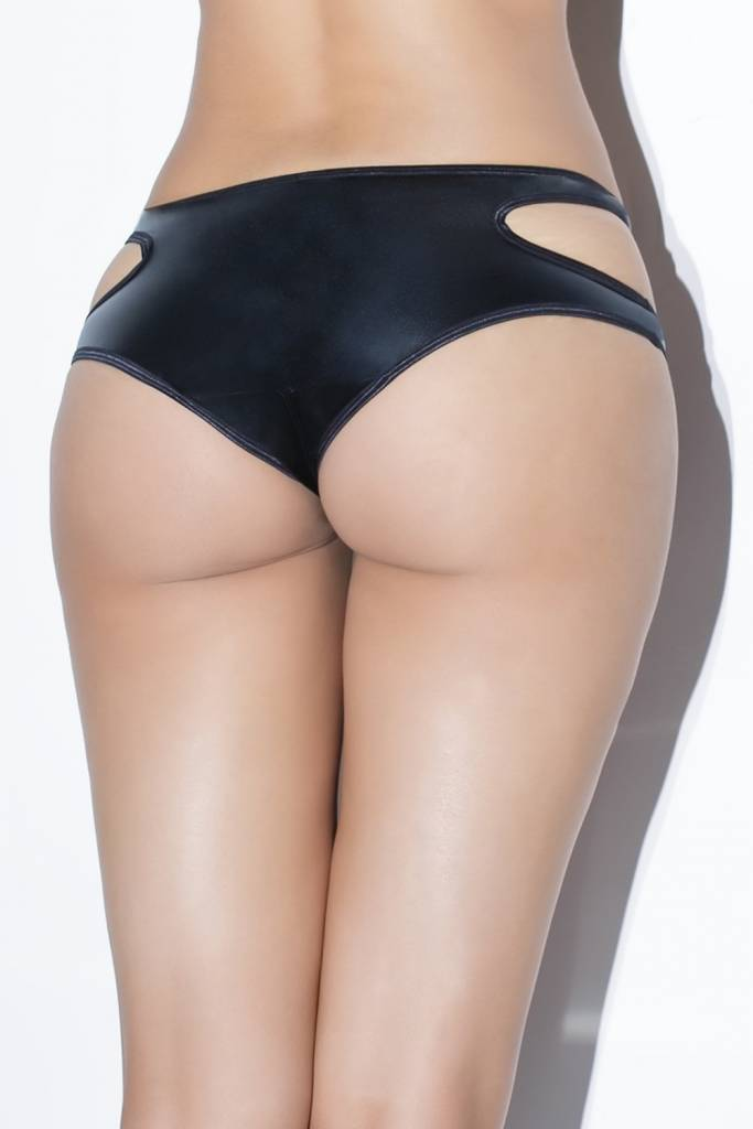 Double Strap Wetlook Crotchless Panty