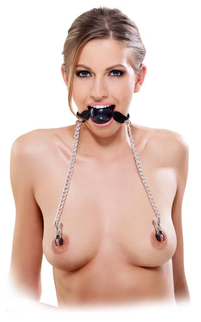 Ball Gag With Nipple Clamps