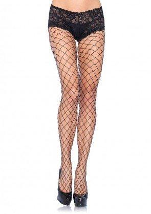 Diamond Net Pantyhose w/ Lace Boy Shorts PLUS BLACK