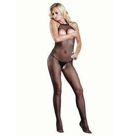 Seamless Fishnet Halter Open Cup Bodystocking