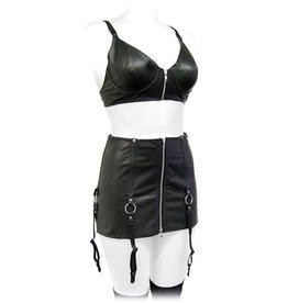 Leather Garter Mini Skirt