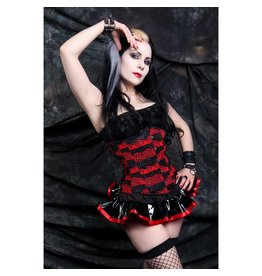 Fishnet Red and Black Cincher