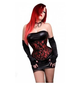 Gothic Red on Black Design Hourglass Cincher