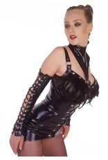 DeMask Latex Lace Up Fingerless Gloves w/ Ruffle