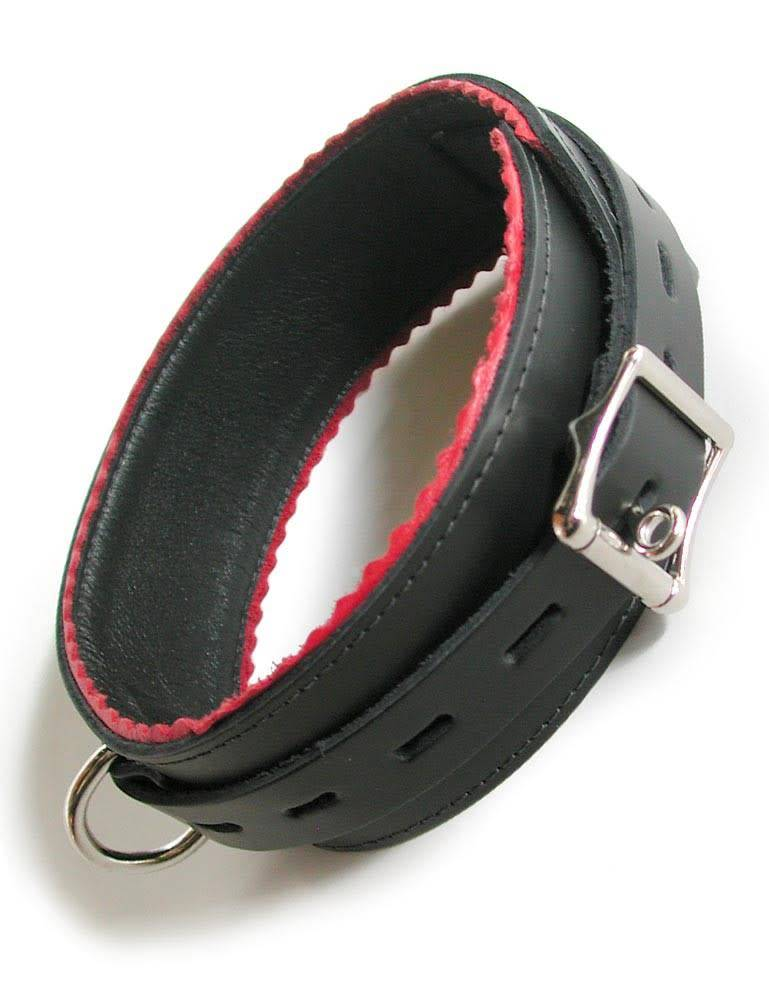 Black Leather Collar w/ Red Scalloped Edge