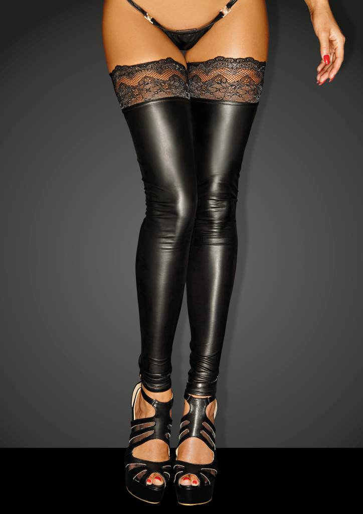 Wetlook Footless Thigh Highs w/ Stay Up Lace
