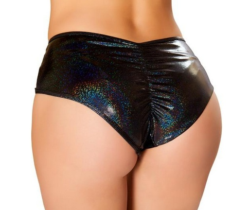 Roma Oil Slick Cutout Shorts with O-rings