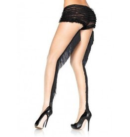 Lycra Sheer Pantyhose w/ Fringe Backseam M/L BEIGE/BLACK