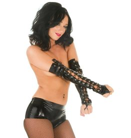 Latex Fingerless Lace Up Gloves