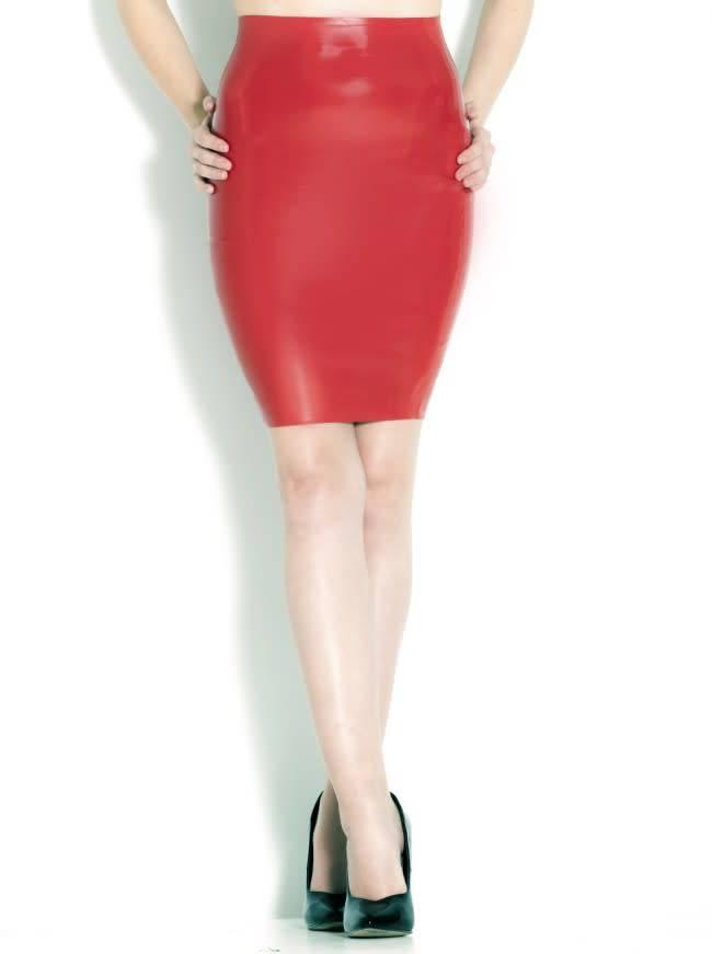 Latex Lipstick Pencil Skirt
