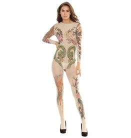 Tattoo Print Crotchless Body Stocking