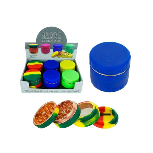 Aluminum Grinder With Silicone Cover - 2.5 Inch - 4 Parts - Assorted Colors