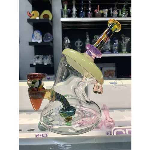 Wisco Kid Drippy Patchwork Banger Hanger Dab Rig by The Wisco Kid Glass