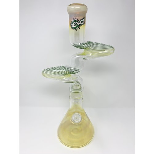 Zong Zong - Fat Striped 3 Kink Silver Fumed Beaker Water Pipe